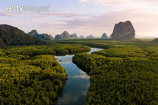Aerial view of Phang Nga bay at sunset, Thailand - gettyimageskorea