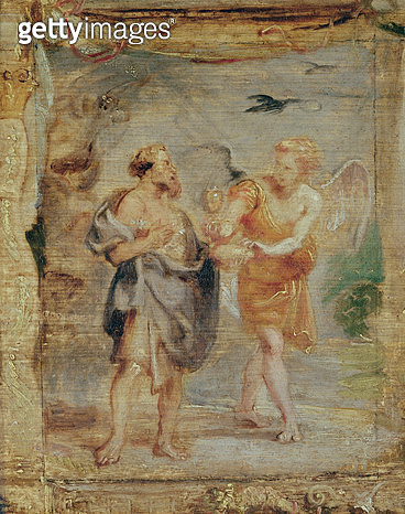 <b>Title</b> : Elijah Receiving Bread and Water from an Angel, c.1626-28Additional Infole prophete Elie recoit d'un ange du pain et de l'eau;<br><b>Medium</b> : <br><b>Location</b> : Musee Bonnat, Bayonne, France<br> - gettyimageskorea