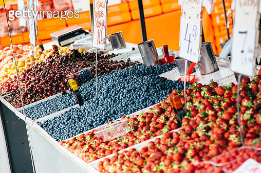 Fresh berries on the market stall in Helsinki, Finland - gettyimageskorea