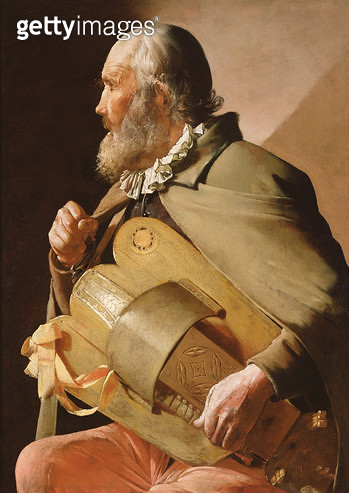 <b>Title</b> : The Blind Hurdy Gurdy Player (oil on canvas)<br><b>Medium</b> : oil on canvas<br><b>Location</b> : Private Collection<br> - gettyimageskorea