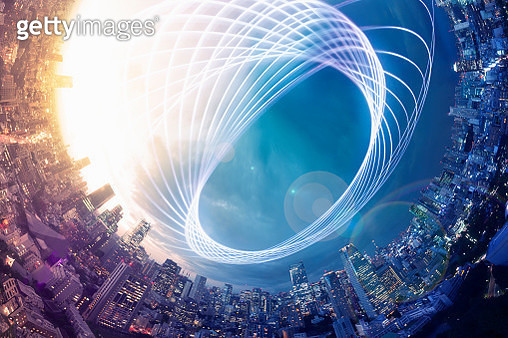 Planet shape panorama cityscape with light trail at dusk - gettyimageskorea