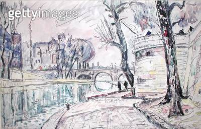 <b>Title</b> : Paris - River Scene (w/c on paper)<br><b>Medium</b> : watercolour on paper<br><b>Location</b> : Private Collection<br> - gettyimageskorea