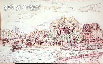 <b>Title</b> : Pont Neuf, 1927 (w/c on paper)<br><b>Medium</b> : watercolour and charcoal on paper<br><b>Location</b> : Private Collection<br> - gettyimageskorea
