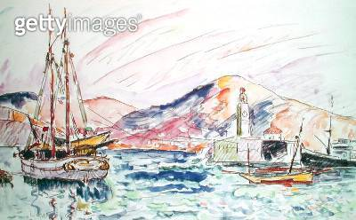 <b>Title</b> : Port Vendres, 1920 (w/c on paper)<br><b>Medium</b> : watercolour on paper<br><b>Location</b> : Private Collection<br> - gettyimageskorea