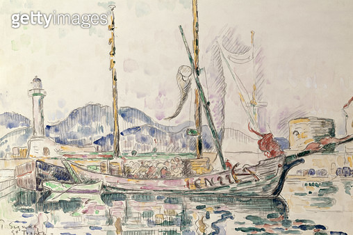 <b>Title</b> : St. Tropez (w/c on paper)<br><b>Medium</b> : watercolour on paper<br><b>Location</b> : Private Collection<br> - gettyimageskorea