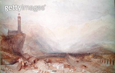 <b>Title</b> : Mountain landscape with church (w/c on paper)<br><b>Medium</b> : <br><b>Location</b> : Private Collection<br> - gettyimageskorea