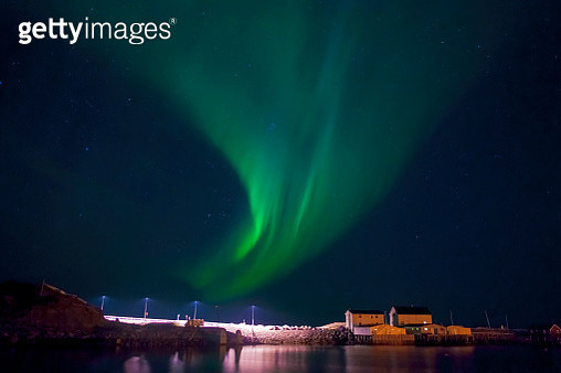 View of aurora borealis in night sky - gettyimageskorea