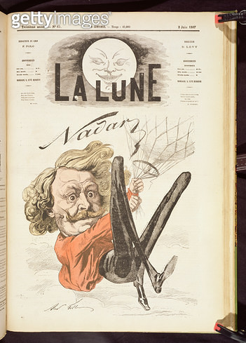 <b>Title</b> : Nadar (1820-1910) title page of 'La Lune', published June 1867 (colour litho)Additional Infocaricature imitating Honore Daumier'<br><b>Medium</b> : <br><b>Location</b> : Private Collection<br> - gettyimageskorea