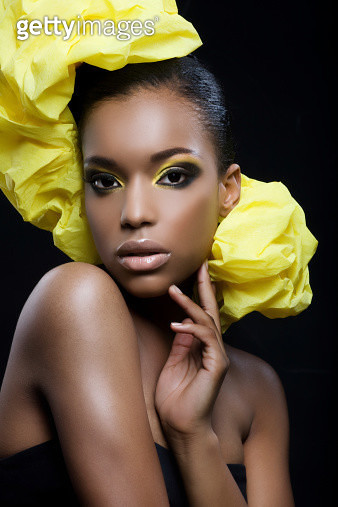 sexy black woman with yellow make-up - gettyimageskorea