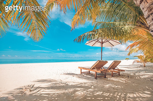 Beautiful beach. Chairs on the sandy beach near the sea. Summer holiday and vacation concept for tourism. Inspirational tropical landscape - gettyimageskorea