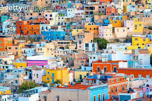 Crowded colorful houses in Guanajuato, Mexico - gettyimageskorea