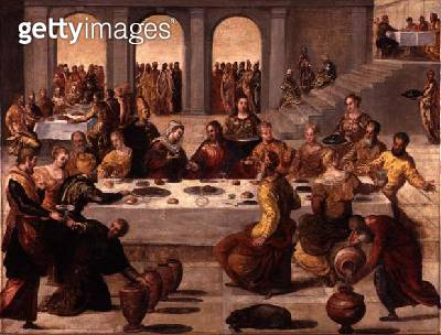 <b>Title</b> : The Wedding Feast at Cana, c.1545 (oil on canvas)<br><b>Medium</b> : oil on canvas<br><b>Location</b> : Isabella Stewart Gardner Museum, Boston, MA, USA<br> - gettyimageskorea