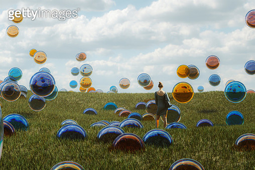 Young woman standing in fantasy meadow. This is entirely 3D generated image. - gettyimageskorea