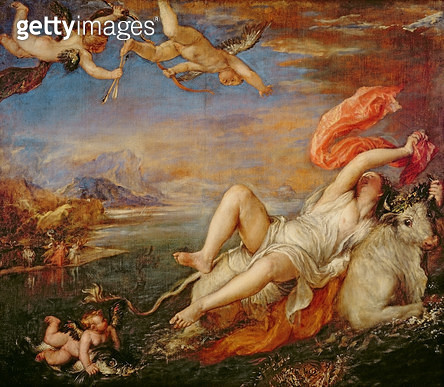 <b>Title</b> : Europa, 1559-62 (oil on canvas)Additional Infosee IND99601 for Rubens copy of this painting in the collection of the Prado in Ma<br><b>Medium</b> : oil on canvas<br><b>Location</b> : Isabella Stewart Gardner Museum, Boston, MA, USA<br> - gettyimageskorea