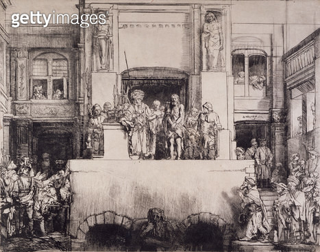<b>Title</b> : Christ Presented to the People, 1655 (drypoint printed on paper)<br><b>Medium</b> : drypoint printed on oriental paper<br><b>Location</b> : Fitzwilliam Museum, University of Cambridge, UK<br> - gettyimageskorea