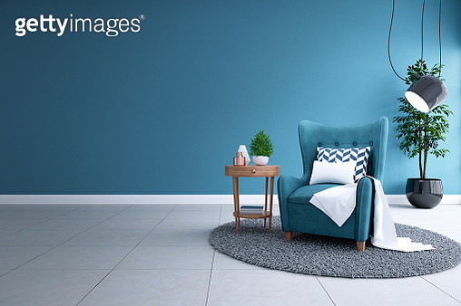 Modern Interior Of Living Room,Blueprint Home Decor Concept ,Blue Sofa And Black Lamp - gettyimageskorea