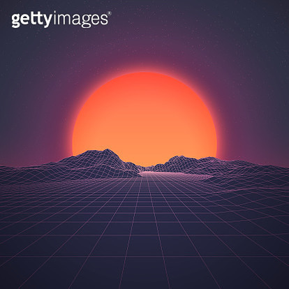 A retro 1980s style background, featuring grid lines leading up to a low-poly mountain range at either dawn or dusk. A brightly glowing sun looms just above the horizon line beneath the distant stars and night sky. This is an ideal design element for your - gettyimageskorea