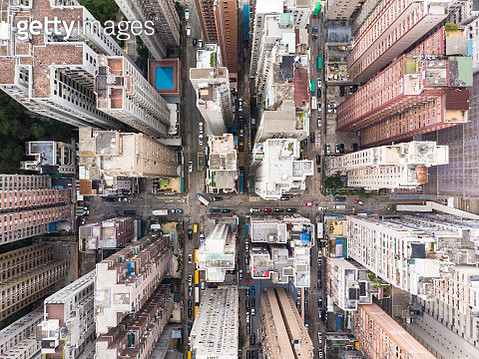 Aerial view of North Point district in Hong Kong - gettyimageskorea