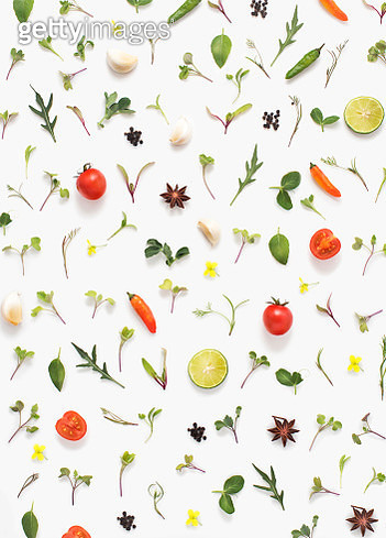 Flat lay fresh vegetables, herbs and spices on white background. - gettyimageskorea