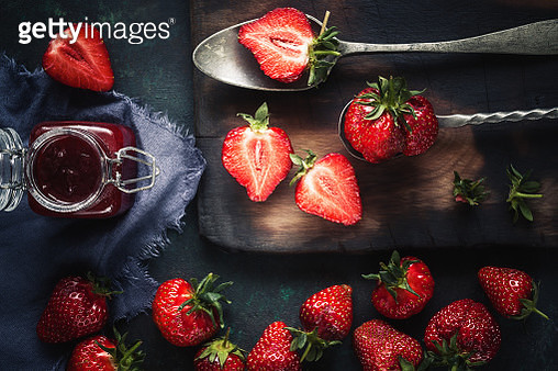 High Angle View Of Strawberries On Table - gettyimageskorea