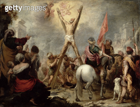 <b>Title</b> : The Martyrdom of St. Andrew, 1675-82 (oil on canvas)<br><b>Medium</b> : oil on canvas<br><b>Location</b> : Prado, Madrid, Spain<br> - gettyimageskorea