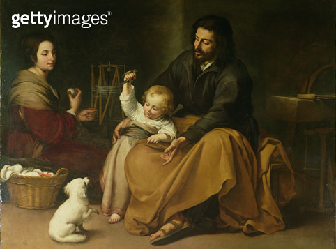 <b>Title</b> : The Holy Family with the Little Bird, c.1650 (oil on canvas)<br><b>Medium</b> : oil on canvas<br><b>Location</b> : Prado, Madrid, Spain<br> - gettyimageskorea