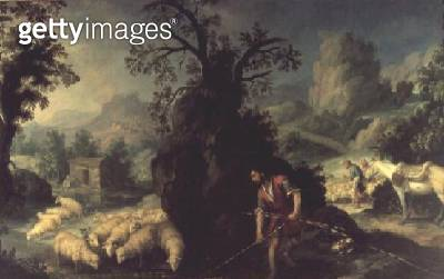 <b>Title</b> : Jacob Setting the Peeled Rods before the Flocks of Laban<br><b>Medium</b> : oil on canvas<br><b>Location</b> : Meadows Museum, Dallas, Texas, USA<br> - gettyimageskorea