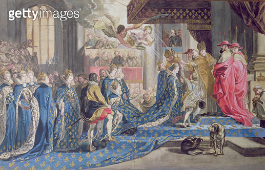 <b>Title</b> : The Coronation of Marie de Medici (1573-1642) 13th May 1610, after a painting by Peter Paul Rubens (pen & ink, gouache and w/c o<br><b>Medium</b> : pen and ink, gouache and watercolour on paper<br><b>Location</b> : Musee Conde, Chantilly, F - gettyimageskorea