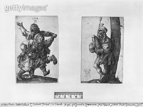 <b>Title</b> : Dancing Peasants and a Bagpipe Player, 1514 (engraving) (b/w photo)<br><b>Medium</b> : engraving<br><b>Location</b> : Musee de la Ville de Paris, Musee du Petit-Palais, France<br> - gettyimageskorea