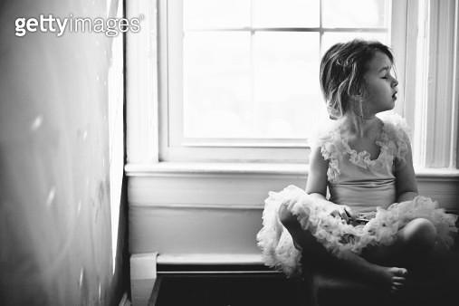 Little girl by window - gettyimageskorea