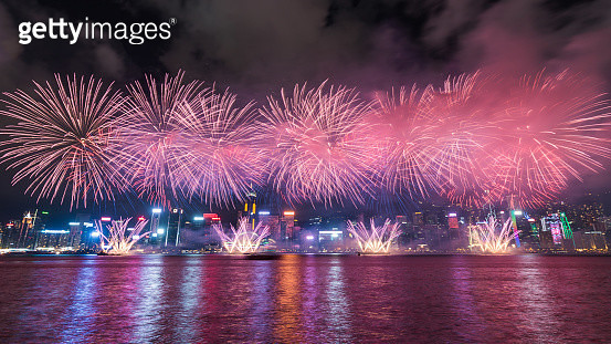 Chinese New Year Fireworks in Hong Kong - gettyimageskorea