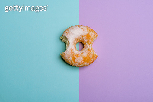 Directly Above Shot Of Donut On Colored Background - gettyimageskorea