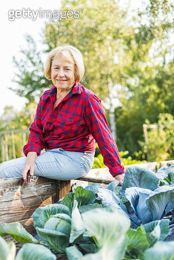 Smiling senior woman at vegetable patch - gettyimageskorea