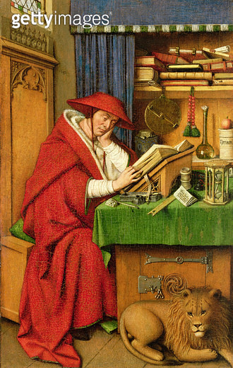 <b>Title</b> : St. Jerome in his Study (oil on linen paper on panel)Additional Infopossibly disguised portrait of Cardinal Niccolo Albergati;<br><b>Medium</b> : oil on linen paper on oak panel<br><b>Location</b> : The Detroit Institute of Arts, USA<br> - gettyimageskorea