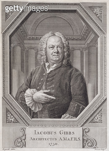 <b>Title</b> : Portrait of James Gibbs (1682-1754) from 'Plans, Sections, and Elevations of the Radcliffe Library', engraved by Bernard Baron (<br><b>Medium</b> : <br><b>Location</b> : Private Collection<br> - gettyimageskorea