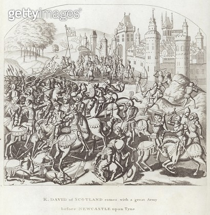 K. David of Scotland comes with a Great Army before Newcastle upon Tyne (engraving) - gettyimageskorea