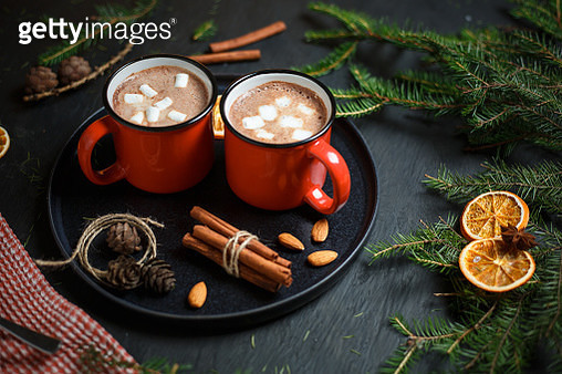 Two cups filled with hot chocolate - gettyimageskorea