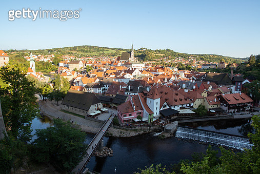 Old city view from above. Top view. Czech krumlov. - gettyimageskorea