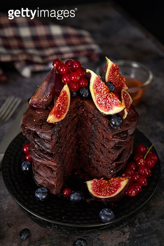 Chocolate Pancake Tower with Fresh Figs - gettyimageskorea