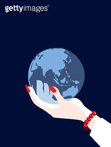 Businesswoman World Globe Map Asia, China, Russia and Australia - gettyimageskorea