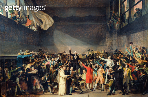 <b>Title</b> : The Tennis Court Oath, 20th June 1789, 1791 (oil on canvas)<br><b>Medium</b> : oil on canvas<br><b>Location</b> : Musee de la Ville de Paris, Musee Carnavalet, Paris, France<br> - gettyimageskorea