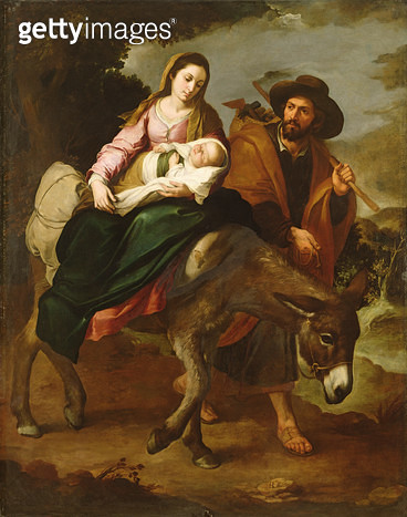 <b>Title</b> : The Flight into Egypt, 1618-82 (oil on canvas)<br><b>Medium</b> : oil on canvas<br><b>Location</b> : The Detroit Institute of Arts, USA<br> - gettyimageskorea