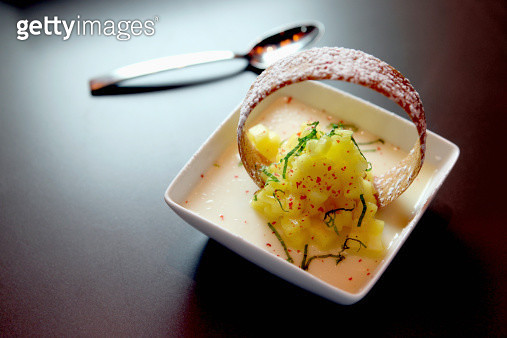 Vanilla panne cotta with marinated pineapple and basil - gettyimageskorea