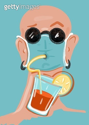 Man drinking cocktail over face mask. - gettyimageskorea