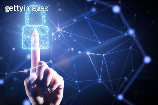 Finger touching the security padlock in network - gettyimageskorea