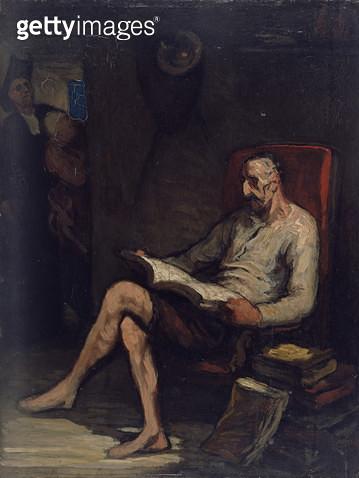<b>Title</b> : Don Quixote Reading, c.1868 (oil on panel)<br><b>Medium</b> : oil on panel<br><b>Location</b> : National Gallery of Victoria, Melbourne, Australia<br> - gettyimageskorea