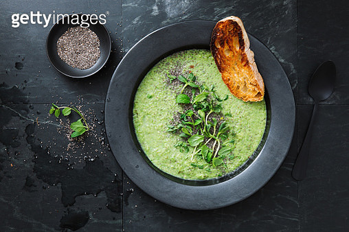 Green soup with chia and almonds - gettyimageskorea
