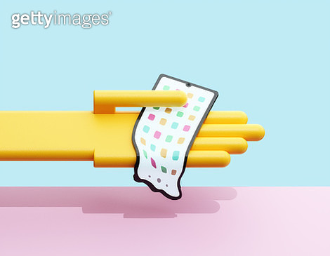 Hand holding melting smartphone - gettyimageskorea