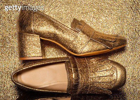 Gold high heel shoes - gettyimageskorea