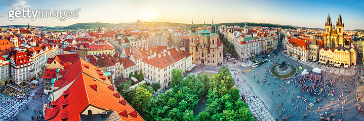 high definition panoramic aerial view from old town square in Prague - gettyimageskorea